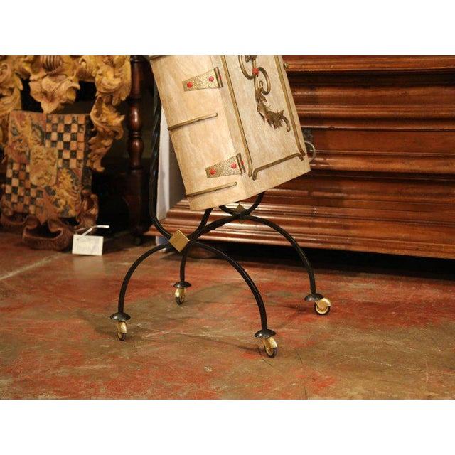 Metal Mid-20th Century French Art Deco Leather and Iron Book Shape Liquor Bar Cabinet For Sale - Image 7 of 9