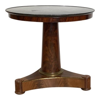 Empire Style Mahogany Center Table with Marble Top For Sale