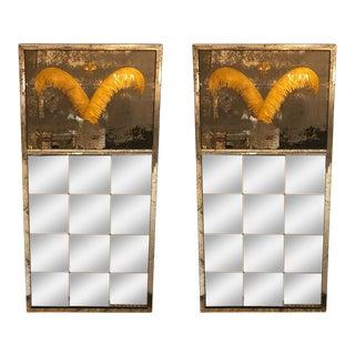 Pair Monumental Hollywood Regency Eglomise Feathers With Fleur De Lis Engravings For Sale