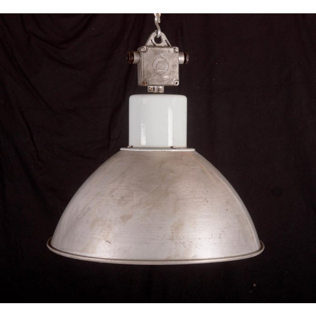 Large Czech Industrial Hanging Lamp in Gray, 1960s For Sale - Image 6 of 8