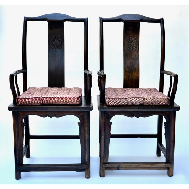 Antique Pair Tall Chinese Scholar Chairs For Sale - Image 12 of 12