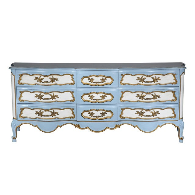 Vintage French-style Karges dresser professionally hand painted and sealed in blue and white with gold detailing. This...