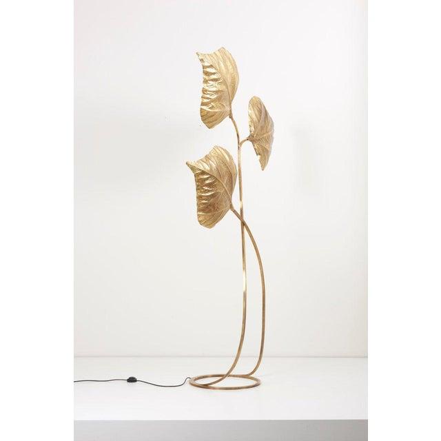 Hollywood Regency 1 of 2 Huge Three Rhubarb Leaves Brass Floor Lamp by Tommaso Barbi For Sale - Image 3 of 13