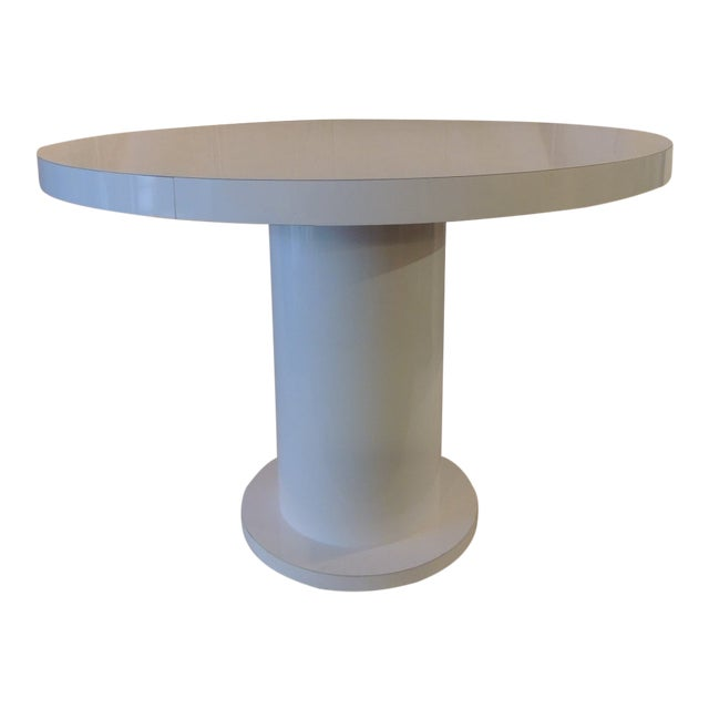 Vintage White Formica Circular Dining Table For Sale