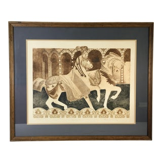 "1990s Frances Vella ""Carnival"" & Signed Framed Etching Print For Sale"