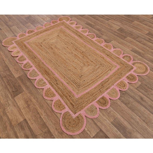 Modern Scallop Jute Light PInk Hand Made Rug - 2'x3' For Sale - Image 3 of 9
