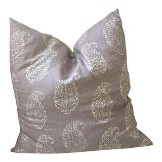 Peter Dunham Kashmir Paisley Lilac Linen Throw Pillow