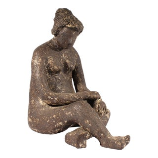 Vintage Abstract Pottery Sculpture of a Seated Nude Woman For Sale