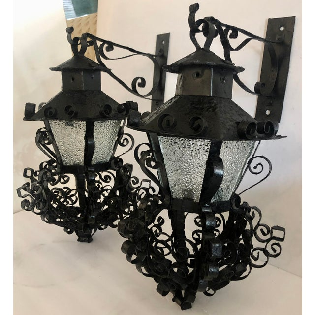 Spanish Pair Midcentury Outdoor Sconces For Sale - Image 3 of 11
