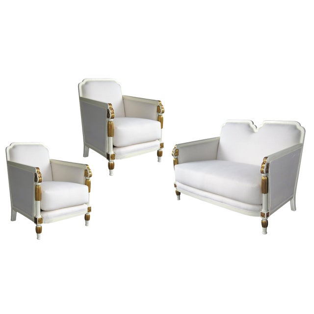 Stylish French Art Deco Ivory Painted & Parcel-Gilt Suite of Two Chairs & Settee For Sale