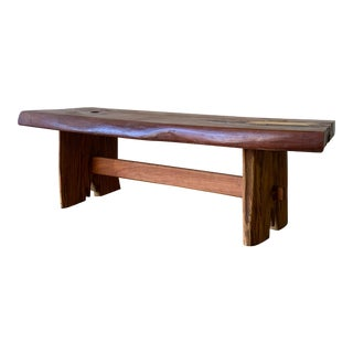 Live Edge Mid Century Modern Nakashima Style Solid Wood Bench / Coffee Table For Sale