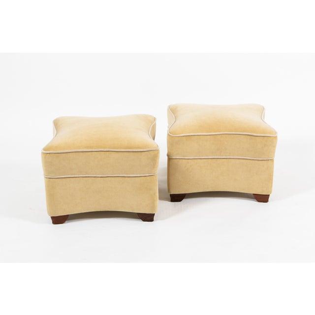 1930's Jules LeLeu Signed Ottomans. Upholstered in cream velvet fabric.