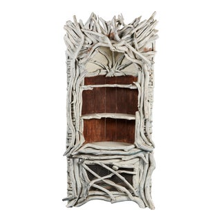 Fantastical Aqua Painted Cabinet Fashioned From Tree Branches For Sale