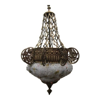 Early 20th Century Art Nouveau Italian Glass and Bronze Floral Chandelier