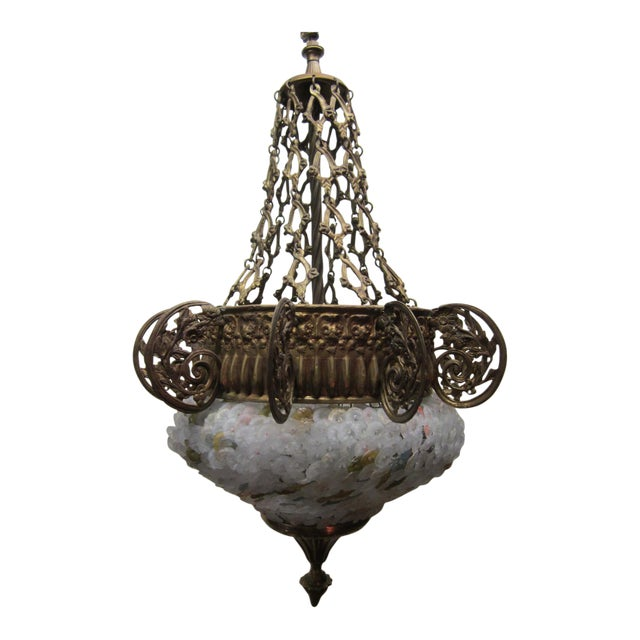 Early 20th Century Art Nouveau Italian Glass and Bronze Floral Chandelier For Sale