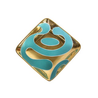 "Hollywood Regency Gold & Turquoise ""Lava"" Square Tray by Waylande Gregory For Sale"