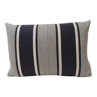 Vintage French Blue and White Stripes Bolster Decorative Pillow For Sale