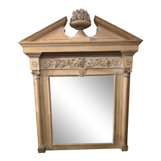 Mid-19th Century Architectural Mirror With Carved Fruit For Sale
