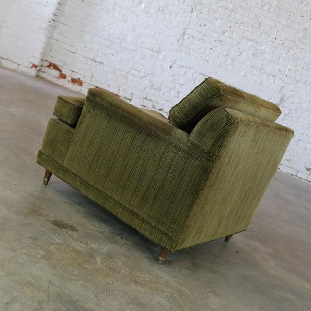 Deep Green Velvet Lawson Style Vintage Club Chair Mid Century Modern - Image 6 of 11