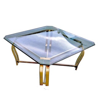 70s Italian Sculptural Polished Brass & Beveled Hexagonal Glass Tables - A Pair Preview