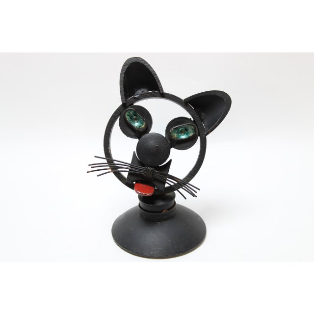 Black 1980s Folk Art Iron Found Object Cat Bust Paper Weight Figurine For Sale - Image 8 of 8