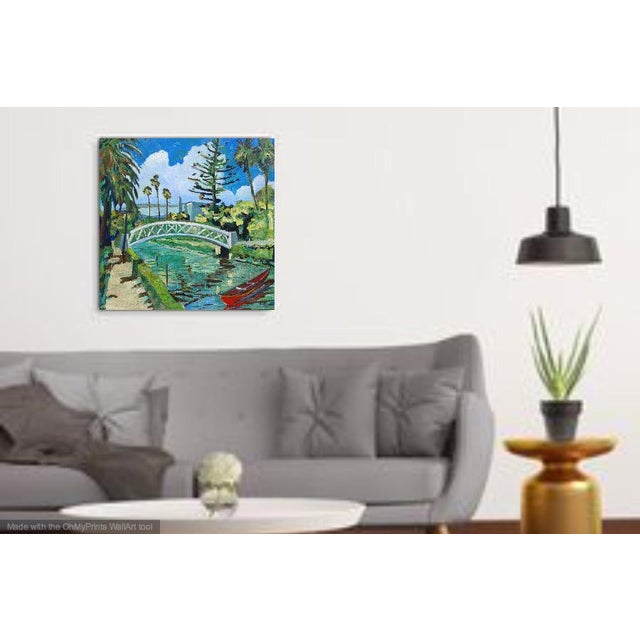 "Boho Chic Monumental ""Venice Canal, California"" Oil Painting For Sale - Image 3 of 10"