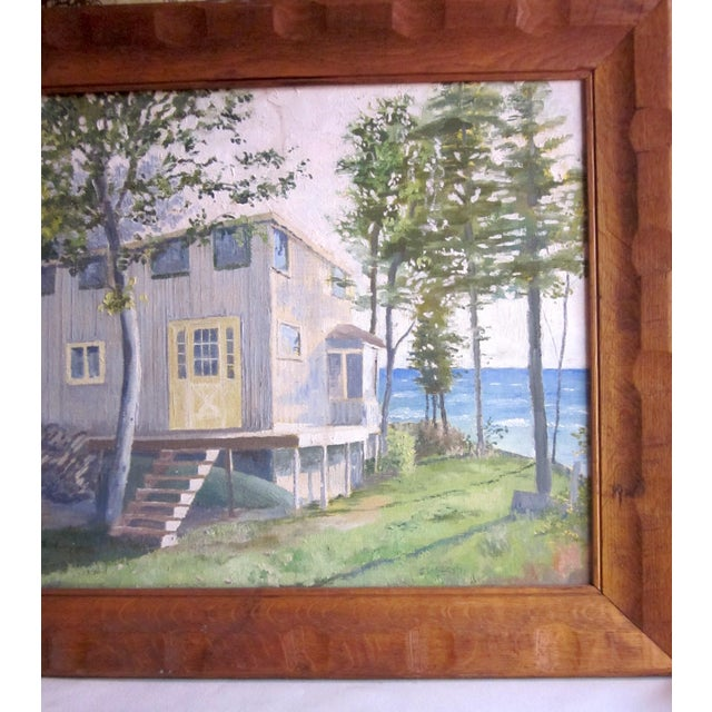 Farmhouse 1971 Vintage Rural Cottage Scene Signed Acrylic on Canvas Painting For Sale - Image 3 of 10