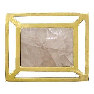 Addison Weeks Downing Knob, Brass & Rose Quartz For Sale