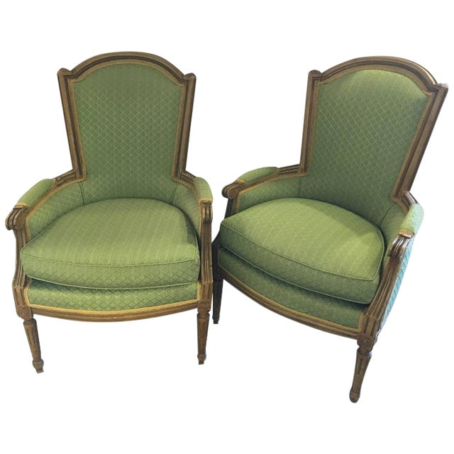 Maison Jansen Stamped Louis XVI Style Bergere Armchairs- A Pair For Sale