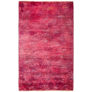 """New Pink Over-Dyed Hand-Knotted Rug - 3'2"""" x 5'"""