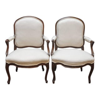Pair of Louis XV Walnut Fauteuils En Cabriolet by Jean-Baptiste Boulard For Sale