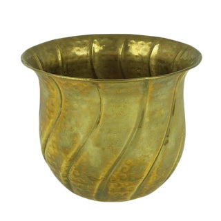 Vintage Mid-Century Hammered Brass Planter Pot For Sale