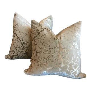 Art Deco Rodolph Distress Cut Velvet Tryst in Sandstone Pillows - a Pair For Sale