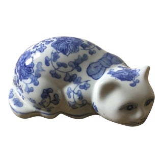 Hand Painted Vintage Chinoiserie Porcelain Kitten For Sale