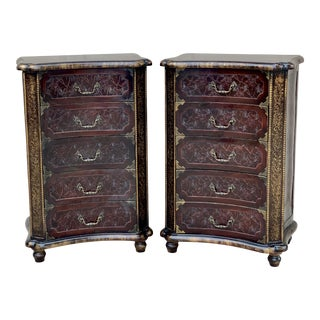Mid-Century Faux Tortoise Shell and Leather Five Drawer Chests - a Pair For Sale