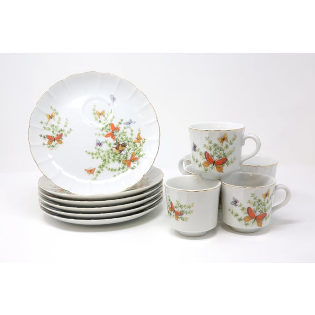 "Vintage ""Ecstasy"" Butterflies Snack Plates and Cups by Shafford - Set of 12 For Sale - Image 4 of 11"