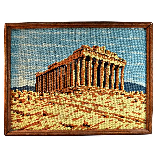 Antique Greek Parthenon Needlepoint For Sale