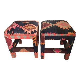 Vintage Boho Kilim Rug Upholstered Benches Stools Ottomans -A Pair For Sale