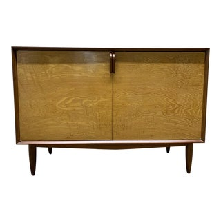 Mid Century Modern Walnut and Birch Chest / Cabinet For Sale