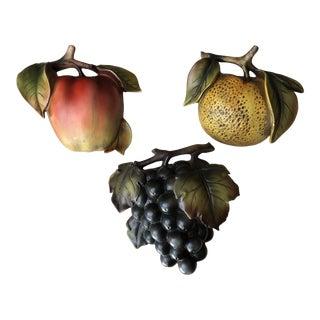 Italian Ceramic Fruit Wall Pockets- Set of 3 For Sale