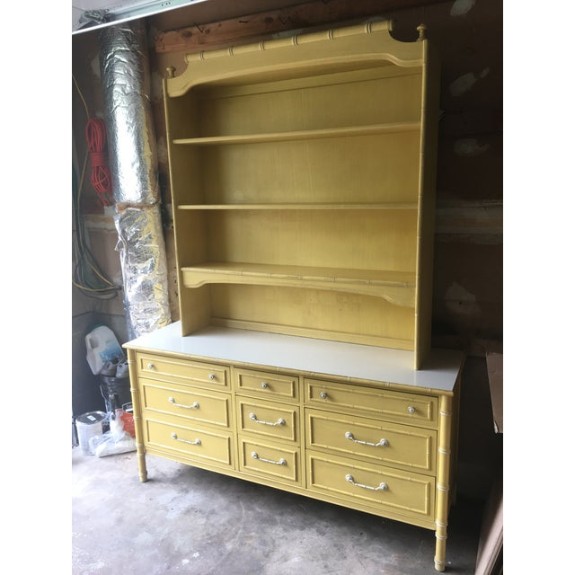 1970s 1970s Hollywood Regency Thomasville Faux Bamboo Dresser and Hutch For Sale - Image 5 of 13