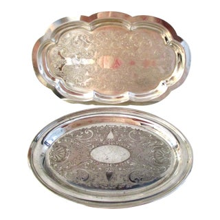 Vintage Silver Letter Trays - a Pair