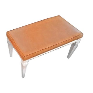 1970s Mid-Century Modern Pumpkin Toned Naugahyde Vinyl Upholstered Bench For Sale