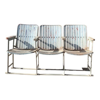 1930s Vintage Movie Theatre 3 Seat Bench For Sale