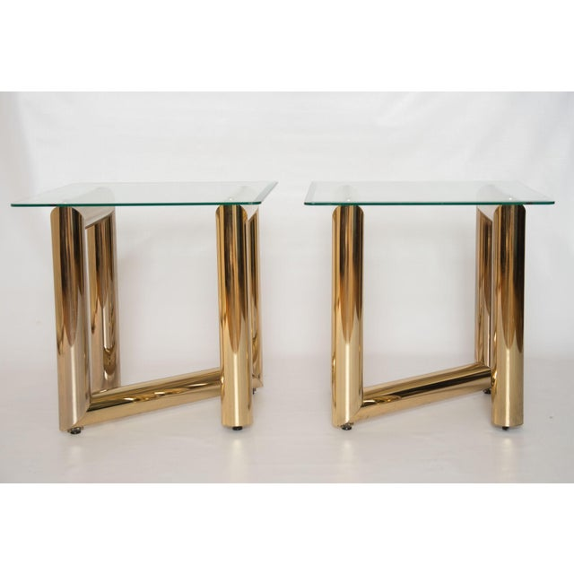 """Brass """"Z"""" Shaped End Tables - A Pair - Image 2 of 7"""