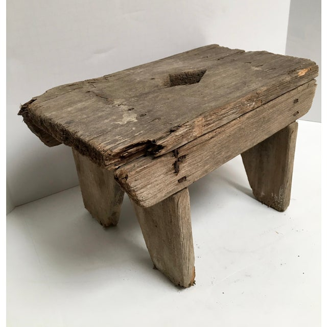 Wood Antique Primitive Handcrafted Farm Stool For Sale - Image 7 of 11