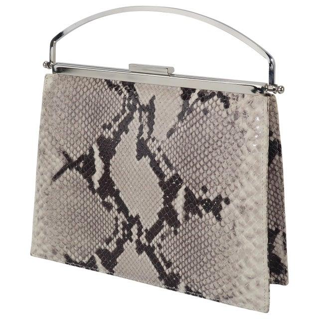 Vintage Neiman Marcus Python Printed Leather Handbag With Silver Handle For Sale - Image 12 of 12