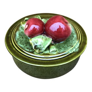 Mid-Century California Pottery Lidded Dish With Apples For Sale