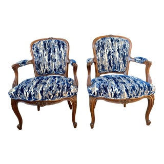 Antique French Carved Bergere Chairs-A Pair For Sale
