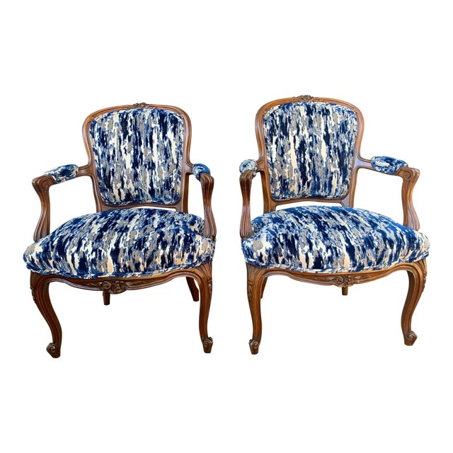 Antique French Carved Bergere Chairs-Pair For Sale